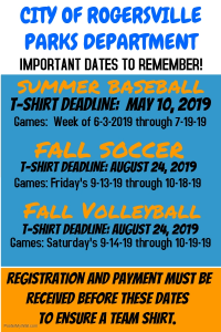 2019 T-Shirt Deadlines