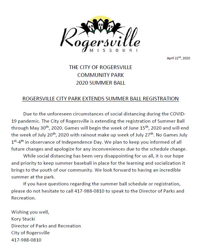 Summer Ball Registration Extension