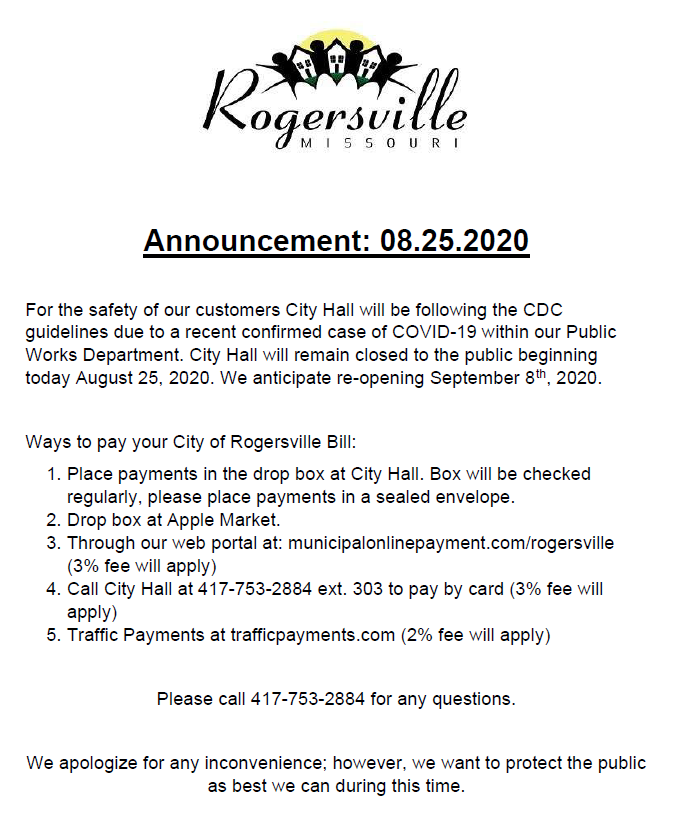 Announcement 8-25-2020 Revised
