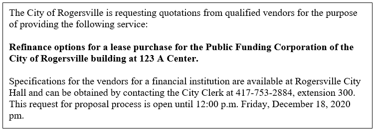 RFP for Public Funding 123 A